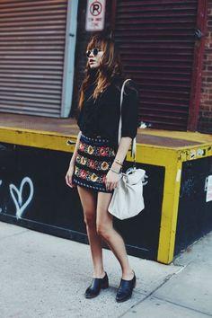 Skirt. Boots. Shades.