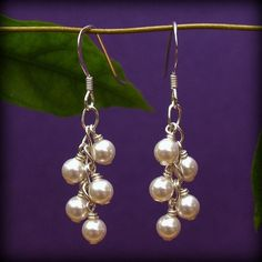 Bridal Earrings  Cascading Swarovski Pearl by handmadebydiana