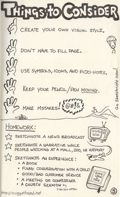 """""""You don't have to fill the whole page"""" --This is something I'd like to remember. I always feel I *need* to fill a whole page. Previous Pinner:: sketchnote_pg5_500x820"""