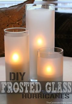 DIY Frosted Glass Hurricanes from the Cavender Diary