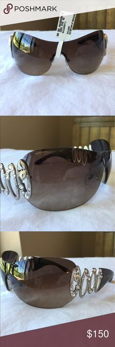 BNWT Bvlgari Sunglasses These stunning Bvlgari sunglasses are amazing!! They are brown on the arms with crystal accents on the temples. There are no scratches on these glasses. The numbers on the inside of the glasses reads 6017-B 102/13 115 3N and the other side says Bvlgari Made in Italy. The tag is still attached to these glasses. There is no case included with these. Bulgari Accessories Sunglasses