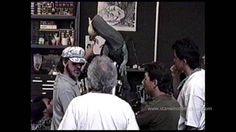 Behind the scenes of JURASSIC PARK. Steven Spielberg, Stan Winston, Michael Lantieri and Colin Wilson review the JURASSIC PARK spitter (Dilophosaurus)  puppet's progress at Stan Winston Studio.