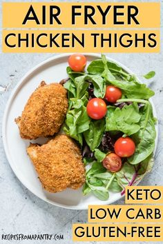 This Air Fryer Chicken Thighs recipe is healthy hearty and full of flavour. Plus it's super versatile! Looking for a new spin on the usual weeknight keto chicken thighs? Low Carb Gluten-free and SO easy to make! via Recipes From A Pantry Air Fryer Recipes Chicken Thighs, Keto Chicken Thighs, Keto Chicken Thigh Recipes, Keto Fried Chicken, Healthy Chicken Recipes, Healthy Food, Air Fryer Recipes Low Carb, Air Fryer Dinner Recipes, Low Carb Recipes