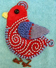 Robin Atkins embroidered, wool applique chicks- Different ones. How cute! Inspiration