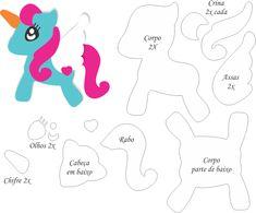 Moldes de unicórnio de feltro. Unicórnio , também conhecido como licórnio ou licorne, é um animal mitológico que tem a forma de um cav... Felt Templates, Unicorns And Mermaids, Little Pony Party, Unicorn Pattern, Unicorn Crafts, Felt Patterns, Sewing Toys, Stuffed Animal Patterns, Felt Toys