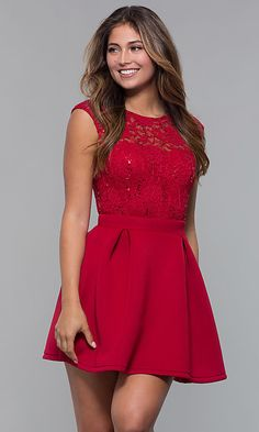 Shop short sequin-lace-bodice party dresses with pleats at PromGirl. Sleeveless semi-formal dresses and a-line homecoming dresses with high scoop necklines, box pleats, and short scuba skirts. Unique Prom Dresses, Sexy Dresses, Beautiful Dresses, Short Dresses, Fashion Dresses, Girls Dresses, Pageant Dresses, Party Dresses, Bridesmaid Dresses