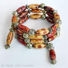 Ethnic Style, Boho, Memory Wire Bracelet, Wood Beads, Lightweight, FREE UK p&p £6.50