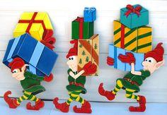 Elves loading Santa's sleigh set of 3 27 inches by RavensNest28, $145.00