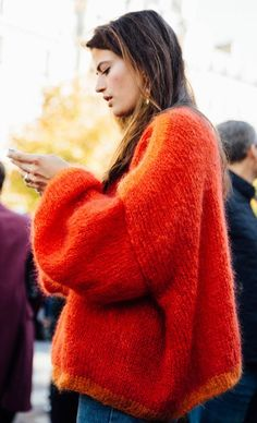 Oversize sweater. Orange sweater.