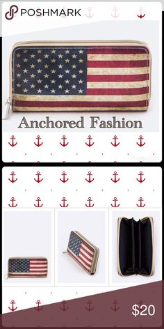 ⚡️FLASH SALE⚡️Old Glory Wallet Flag print wallet. 12 credit card slots. Zippered coin pouch with pouch inside for smart phone. Bags Wallets