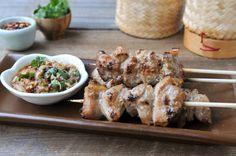 Thai Grilled Pork Skewers | Moo Ping | หมูปิ้ง by rachelcooksthai: Succulent. #Pork_Skewers #Thai