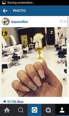 nail polish nails nail accessories laquenailbar gold nude gold and nude summer spring cute pretty prom fashion style nail art coffin coffin nails