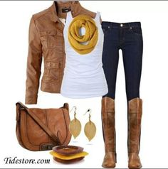 Fall Look. Great #autumn fashion look. Love the boots and leaf earrings.