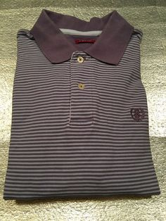 Men's IZOD Luxury Sport Polo Golf Shirt - Purple/Blue Stripe  -  Size L #IZOD #PoloRugby