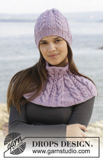 """Knitted DROPS hat and neck warmer with cables in """"Alaska"""". ~ DROPS Design"""