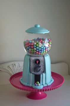 For my daughter and her friends.  The gumballs are real gumballs - I didn't make them from fondant!  I followed McGreevy Cakes' tutorial in making the cake.*