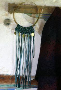 Statement Necklace Tribal Bib Necklace Fringe by EleannaKatsira