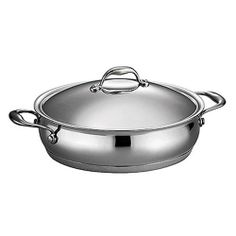 Domus Stainless Steel Oval Braiser with Lid by Tramontina Gourmet. $119.95. Elegant kitchen to table serving. Measures 16.250 by 12.250 by 6.000 inches; lifetime warranty; made in Brazil. Tri-ply base construction. Oven-safe up to 500 degree F / 260 degree C; compatible with the following: induction, gas, electric, ceramic glass; dishwasher-safe. Riveted cast stainless steel handles; 18/10 stainless steel lid. 80102/014DS Features: -Braiser.-Material: Premium 18/10 stai...