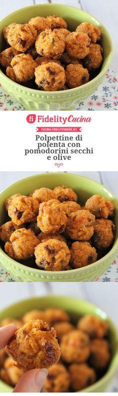 Polenta meatballs with dried tomatoes and olives Vegan Foods, Vegan Dishes, Vegan Desserts, Food Dishes, Polenta, Veggie Recipes, Baby Food Recipes, Cooking Forever, Brunch