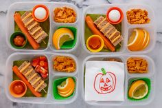 A lot of the bento lunch bloggers that I follow have been doing some  seriously amazing halloween themed lunches. I am in awe, they are so  creative. But with four lunches to make every day, I can't manage to do  such elaborate themed lunches. And that would set a precedent for my kids  that I could never live up to - they would expect an elaborated lunch for  every holiday!   But, it's Halloween, so I figured I'd better come up with something that  was a little bit in keeping with the…