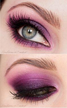 Deep purple and pink eye shadow.