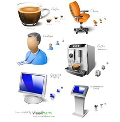 Office Space and Coffee Icons Set