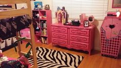 Monster High bedroom. pink furniture with zebra rug. can be reused for other room makerovers