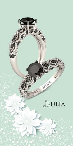 Round Cut Created Black Diamond Rhodium Plated Sterling Silver Bridal Rings #Jeulia