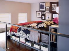 made a hollow headboard and mattress frame extra storage... allowing a KING bed!  Wooow!