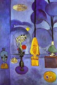 The Blue Window, 1911 by Henri Matisse. Expressionism, Fauvism. interior. Museum of Modern Art, New York, USA