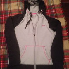 Nike Sweatshirt Hoodie/Jacket Nike Sweatshirt Thermal Jacket. Black, Grey & Pink. Size Medium. Have too many need to clean house :) Nike Tops Sweatshirts & Hoodies