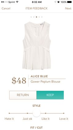 Alice Blue   Gower Peplum Blouse -- I've seen others review this top from Stitch Fix and it looks so great!
