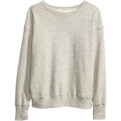 H&M Sweatshirt ($52) ❤ liked on Polyvore featuring tops, hoodies, sweatshirts, sweaters, shirts, h&m, grey, sweat shirts, gray shirt and long sleeve cotton shirt