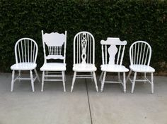 Mix & Match Chairs Set of 6 Dining Chairs White door ThePaintedLdy, $889.00