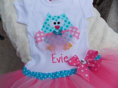 EXCLUSIVE Ballerina Owl Applique Tutu Tshirt Dress by BubbleBabys, $32.95