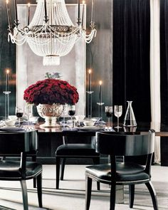 Pretty Red Roses And Crystal Chandelier For Elegant Dining Room Ideas