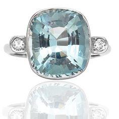 Magnificent... Aquamarine and Diamond ring - Stunning!   Wow... this is a HUGE 7.74 carat cushion cut natural Aquamarine $6000