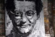 Personnages Par Yan Pei-ming - Paris (France) est-ce un portrait de Coluche?