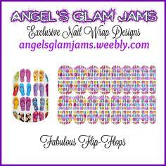 Fabulous Flip-Flops Jamberry Nail Wraps by Angel's Glam Jams! ORDER HERE: http://angelsglamjams.weebly.com/fabulous-flip-flops.html #flipflops #summer #jamberry #nas #nailartstudio #nailwraps #nailart #instantdownload