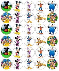Mickey Mouse Club House Cupcake Toppers Edible Wafer Paper Buy 2 Get Free! Fiesta Mickey Mouse, Mickey Mouse Clubhouse Party, Mickey Mouse Parties, Mickey Mouse Cake Topper, Mickey Mouse Cupcakes, Disney Scrapbook, Scrapbook Paper, Nametags For Kids, Disney Printables