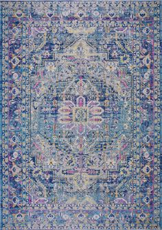 Set a traditional foundation for your stylish space – inside or outdoors – with this oriental area rug, showcasing an Persian motif in shades of blue, lilac pink and hints of yellow. Living Room Area Rugs, Living Room Bedroom, Home Decor Bedroom, Living Rooms, Hallway Carpet, Persian Motifs, Indoor Outdoor Area Rugs, Home Decor Furniture, Rugs On Carpet