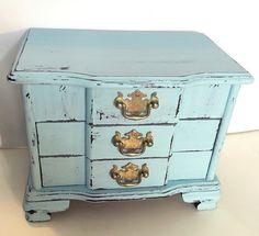 Blue Jewelry Box  Distressed Jewelry Box  by GreenEarthSoul