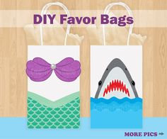 Mermaid Favor Bags/ Shark Favor Bags/ Mermaid & Shark Birthday Party/ Favors/ Goody/ Treat/ Candy/ Gift/ Bags/ Mermaid and Shark invitations by CreativePartyStudio on Etsy https://www.etsy.com/listing/532301842/mermaid-favor-bags-shark-favor-bags