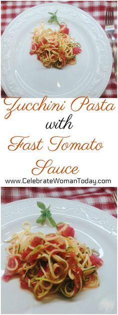 Easy recipe for Zucchini Pasta with Fast Tomato Sauce Recipe.