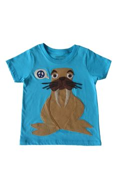 I Am The Walrus: Hand Stitched Organic Cotton Mushpa + Mensa Designer 10 Youth Tee With Custom EcoFi Felt Appliques The Beetles, I Am The Walrus, My Daughter Birthday, Felt Applique, Custom Tees, Recycle Plastic Bottles, Hand Stitching, Appliques, Really Cool Stuff