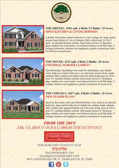 Brick Homes for Sale by Vaughn Homes in Cedar Grove.    Please Visit Vaughn Homes open MODEL HOME 1-5PM FRI-WED  5415 Cannondale North Charleston, South Carolina and talk to our representative to make your dream brick home a reality.  http://www.realbird.com/feed.aspx?id=D6C1D6C3    Near Boeing Charleston Factory Robert Bosch LLC Charleston, SC Summerville Medical Center Joint Base Charleston Boeing 787 Dreamliner real estate
