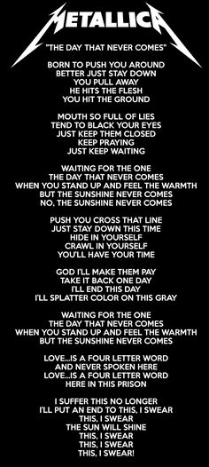 The Day That Never Comes Lyrics - Metallica