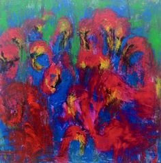 Abstract painting FLAMINGOS acrylics on by Yuliarobinsonarta