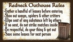 (Redneck Outhouse Rules)  WALL DECOR, RUSTIC, PRIMITIVE, HARD WOOD, SIGN, PLAQUE