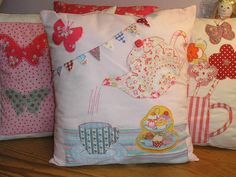 Applique Cushion Kit Teapot Bunting Cupcakes 12 inc Cath Kidston cotton Fabric